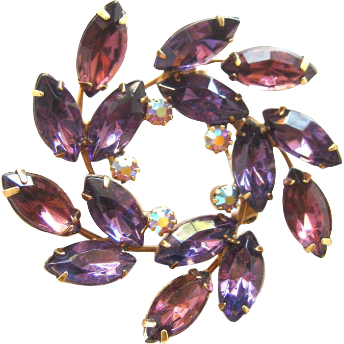 Vintage Amethyst Rhinestone Circle Pin / Vintage Rhinestone Jewelry / Purple Rhineston Pin