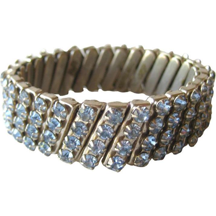 Blue Rhinestone Expansion Bracelet / Vintage Jewelry / 1950s Bracelet