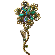 Vintage Western Germany Green Rhinestone Flower Pin/ Floral Brooch / West Germ an Pin