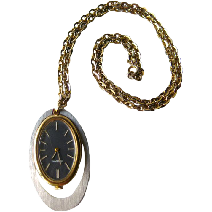 Bulova Watch Necklace Mid Century / Mechanical Watch / Atomic Style Watch / Working Condition