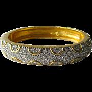 Premier Design Rhinestone Gold Tone Clamper Bracelet / Vintage Jewelry / Fashion Bracelet / Hinged Bracelet