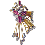 Vintage STAR-ART 12K GF Pink Rhinestone Pin and Pendant / Vintage Jewelry
