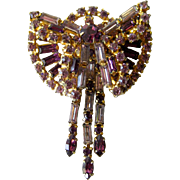 Vintage Amethyst and Lavender Rhinestone Dimensional Pin With Fringe Dangles/ Vintage Jewelry