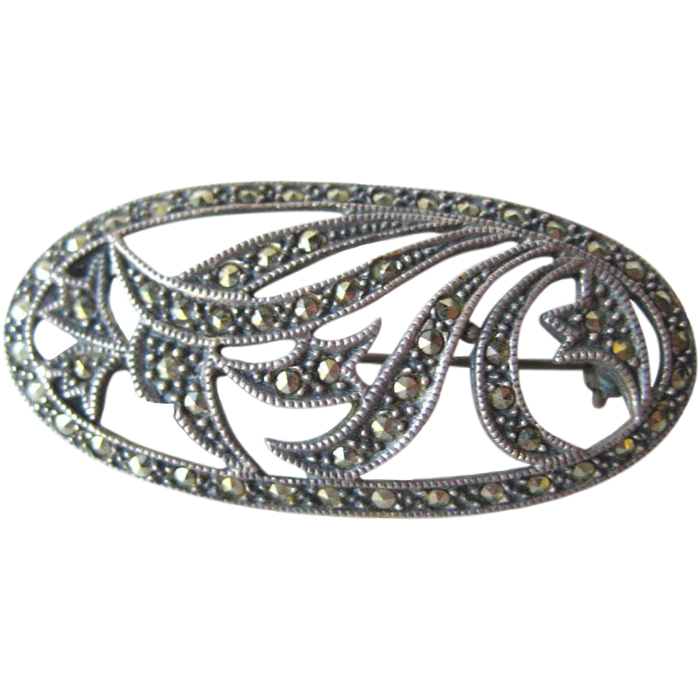 Vintage Sterling Art Deco Marcasite Oval Brooch / Vintage Jewelry / Womans Gift