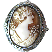 Carnelian Shell Art Deco Cameo Brooch and Pendant / Shell Cameo / Vintage Fashion / Vintage Jewelry / Womans Gift Jewelry