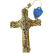 Large Whiting and Davis Pendant Cross / Vintage Fashion Jewelry / Womens Gift / Costume Jewelry