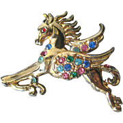 Rhinestone Pegasus Flying Horse Pin / Vintage Fashion Jewelry / Womens Gift / Costume Jewelry