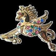 Rhinestone Pegasus Flying Horse Pin / Vintage Fashion Jewelry / Womens Gift / Costume Jewelry