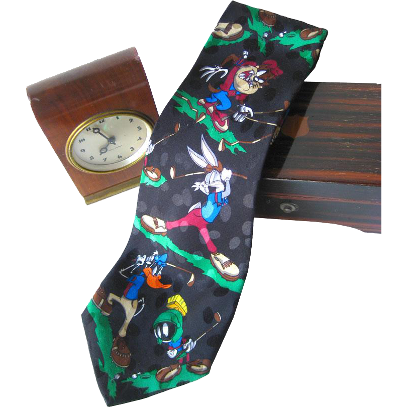 Looney Tunes Mania Golfers Silk Necktie / Mens Fashion / Novelty Tie / Gift For Him
