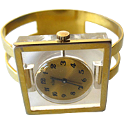 Vintage 1960s Mid Century Mod Le Jour Mechanical 17 Jewelry Watch Bracelet With Lucite Front and Skeleton Back / Wind Up Womans Watch / Excellent Working Condition