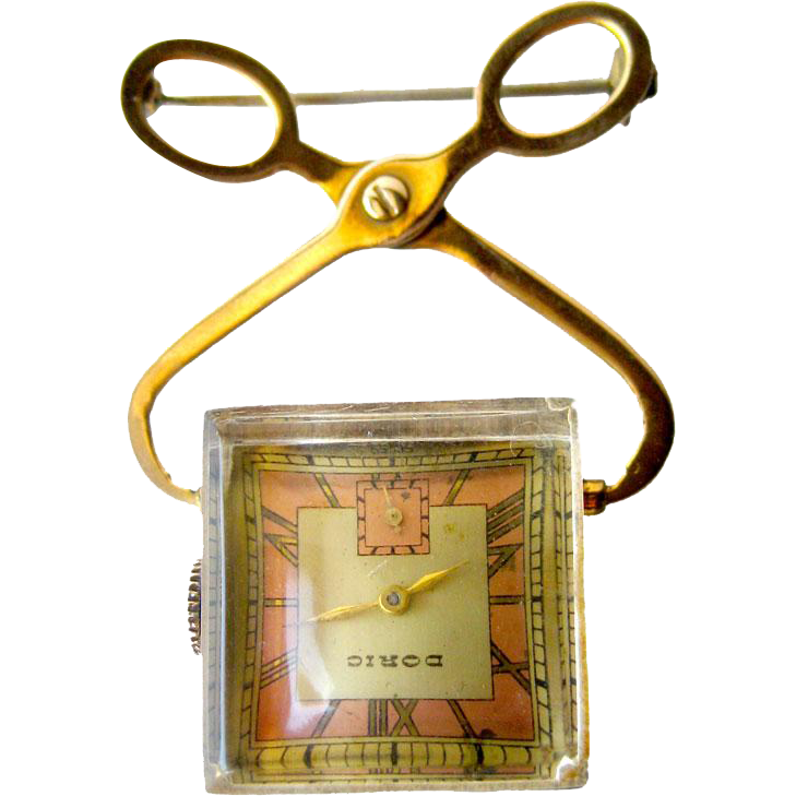 Vintage Doric Face Monarch Movement 7 Jewel Ice Cube Watch Pin / Wind Up Womans Watch Pin / Working Condition