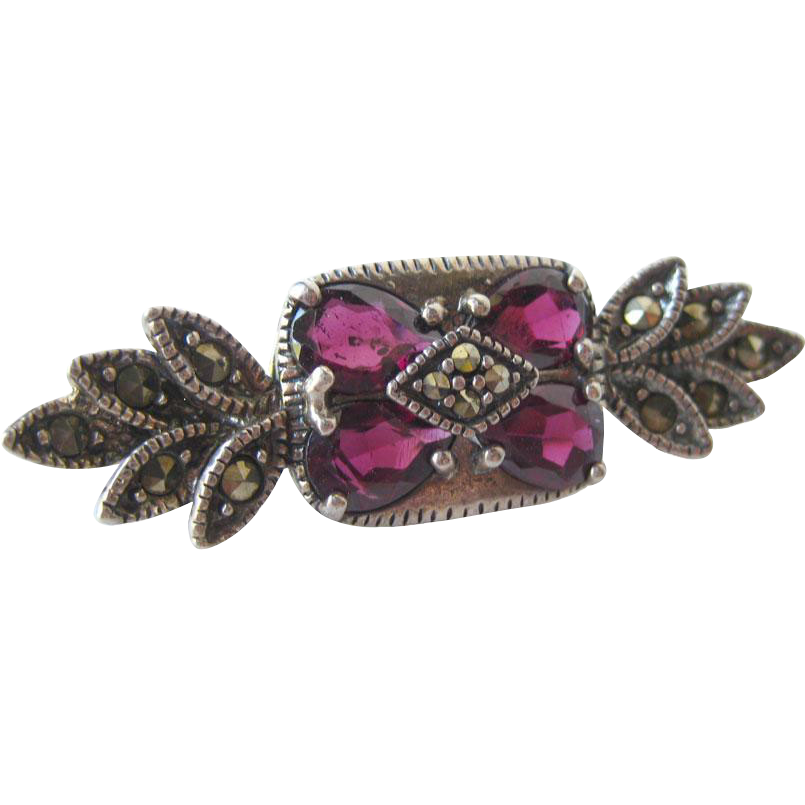 Vintage Amethyst Marcasite and Sterling Silver Pin Marked JC / Vintage Jewelry / E state Jewelry