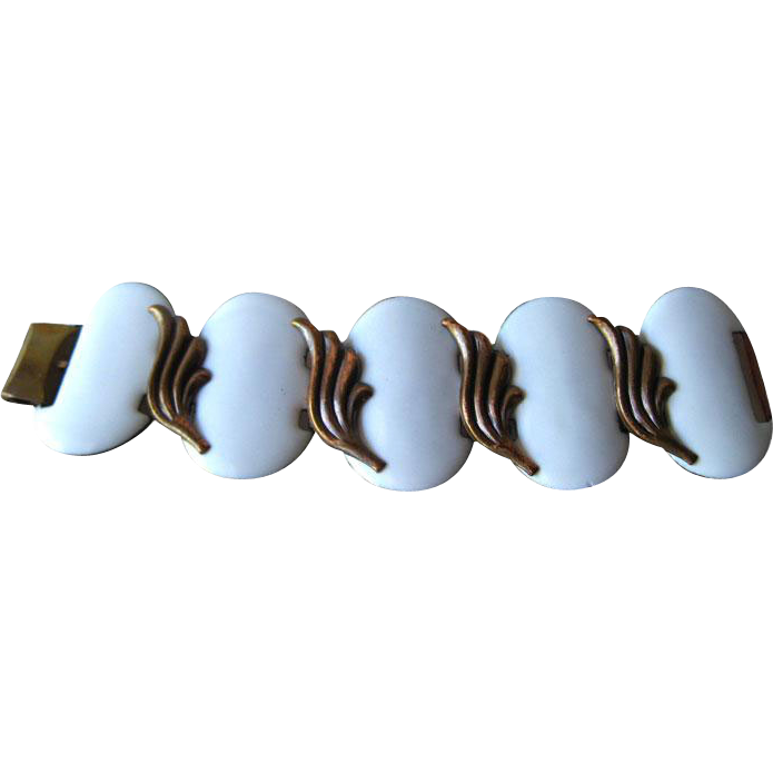 Extra Wide White Enamel and Copper Bracelet / MOD Fashion Jewelry / 1960s Jewelry