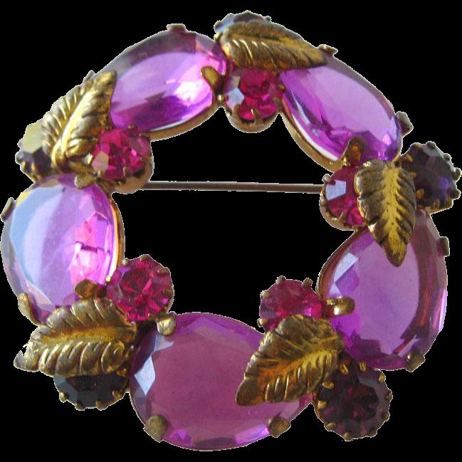 Austrian Crystal Purple Circle Pin / Vintage Jewelry / Costume Jewelry