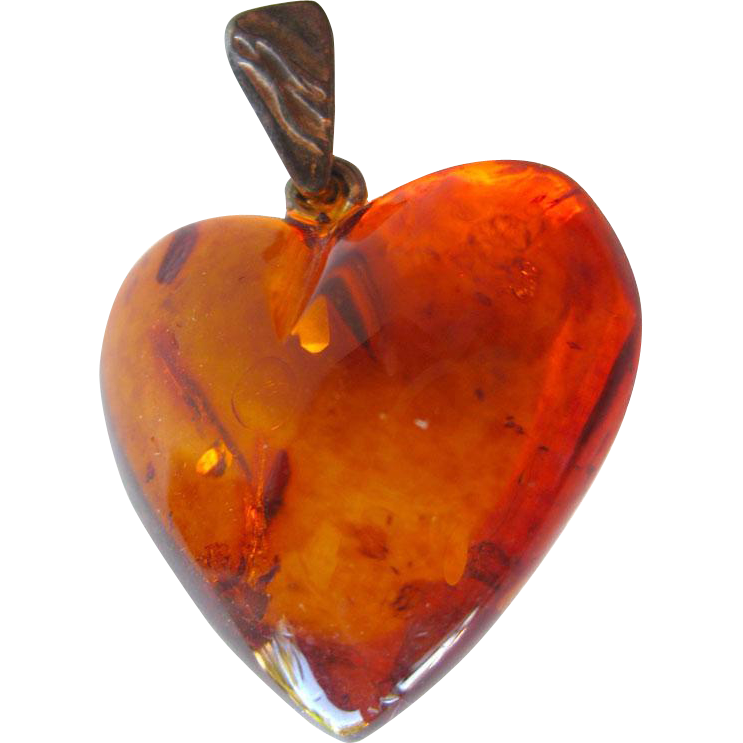 Amber and Sterling Heart Pendant / Vintage Jewelry / Estate Jewelry