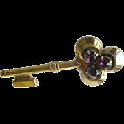 Vintage Pegasus Coro Amethyst Key Pin / Vintage Jewelry / Designer Jewelry