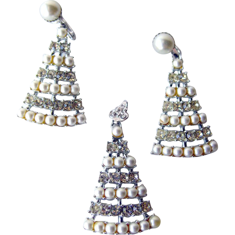 Sarah Coventry Christmas Tree Pendant and Earring Set / Designer Jewelry / Costume Jewelry / Holiday Jewelry