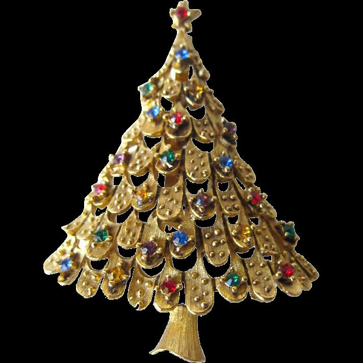 vintage jj rhinestone christmas tree pin    vintage jewelry