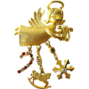 Vintage Angel Pin With Dangling Christmas Charms / Vintage Jewelry / Holiday Je welry / Costume Jewelry