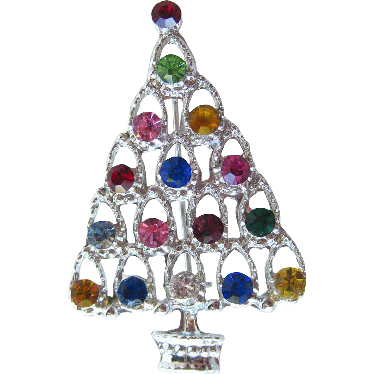 Vintage Rhinestone Christmas Tree Pin / Vintage Jewelry / Holiday Pin / Christmas Brooch