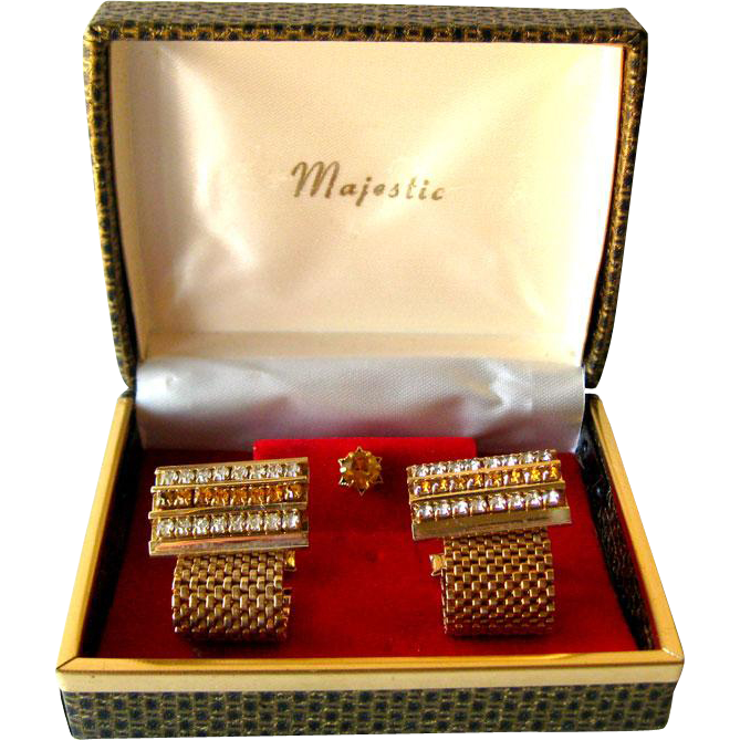 Amber and White Rhinestone Cuff Links and Tie Pin Boxed Set / Gift for Him / 1950s Mens Fashion / Mens Jewelry