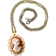 Cameo Geneva 17 Jewel Watch Pendant Necklace in Working Condition / Designer Jewelry / Vintage Jewelry 1960s