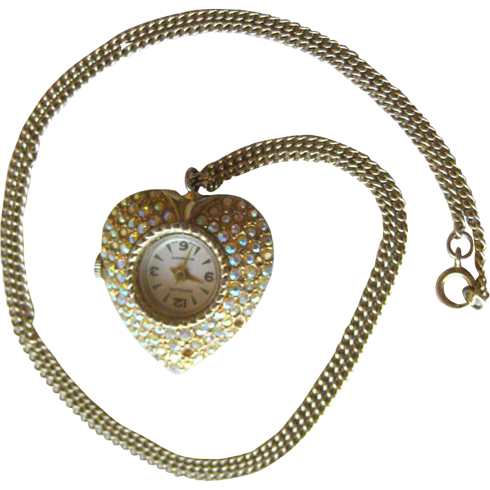 Montreluxe Rhinestone Heart Watch Pendant Necklace in Working Condition / Byn Watch Movement / Vintage Jewelry 1960s