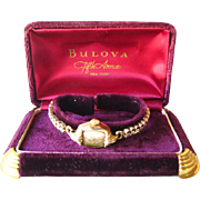 Bulova Rolled Gold Mechanical 17 Jewel Watch in Working Condition With Velvet Presentation Box 1951 6BS Movement