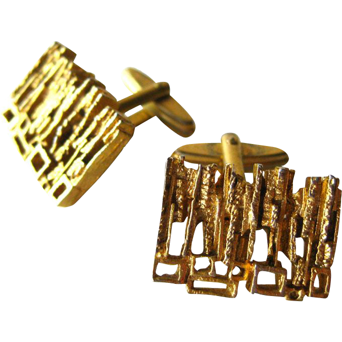 Gold Nugget Mid Century Cufflinks / Mod Cufflinks / Cuff Links / Mens Fashion / Mens Gift