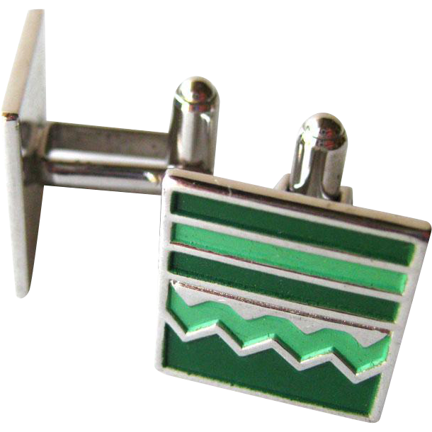 Green Enamel Speidel Mid Century Silver Cufflinks / Cuff Links / Mens Fashion / Mens Gift