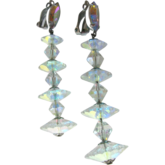 Lewis Segal Crystal Earrings Extra Long / Shoulder Duster Earrings / Vintage Costume Jewelry / Clip On Earrings / Bride Earrings