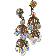 Layered Crystal Chandelier Earrings Extra Long / Shoulder Duster Earrings / Vintage Costume Jewelry / Clip On Earrings / Bride Earrings
