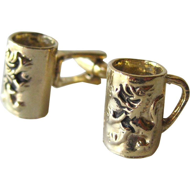 German Beyer Lion Beer Stein Cufflinks / German Lion Beer Mug Cuff Links / Mens Fashion / Mens Gift / Fathers Day Gift