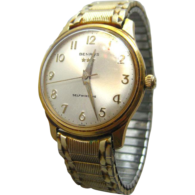 Benrus Self Winding Mens Three Star Watch With Speidel Goldtone Band / Fathers Day Gift / Mens Mechanical Watch