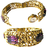 Amethyst Bangle Bracelet Leon Piradet Watch 21 Jewel / Working Mechanical Watch / Mothers Day Gift / Womens Mechanical Watch