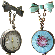 Guilloche Enameled Rose Watch Pin In Working Condition /Essex Watch Company / Wind Up Womans Watch Pin