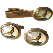 Marvel Intaglio Reverse Carved Cufflinks and Tie Clasp Pheasant Design / Mens Fashion / Mens Gift / Fathers Day Gift
