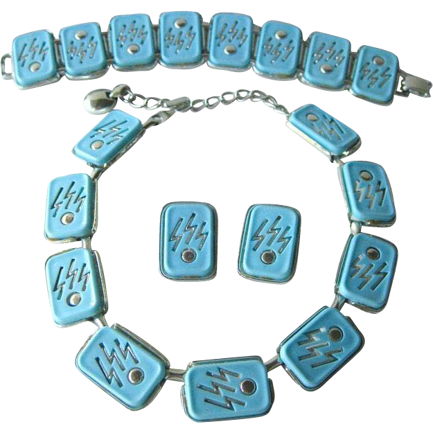 Atomic Era Bracelet Necklace Earring Set Early Plastic - MOD Bracelet - Atomic Jewelry - Costume Jewelry - Mid Century Jewelry
