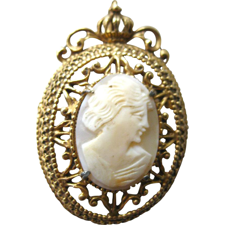 Florenza Shell Cameo Filigree Brooch and Pendant / Vintage Signed Jewelry / Florenza Vintage Pin / Florenza Brooch / Signed Costume Jewelry
