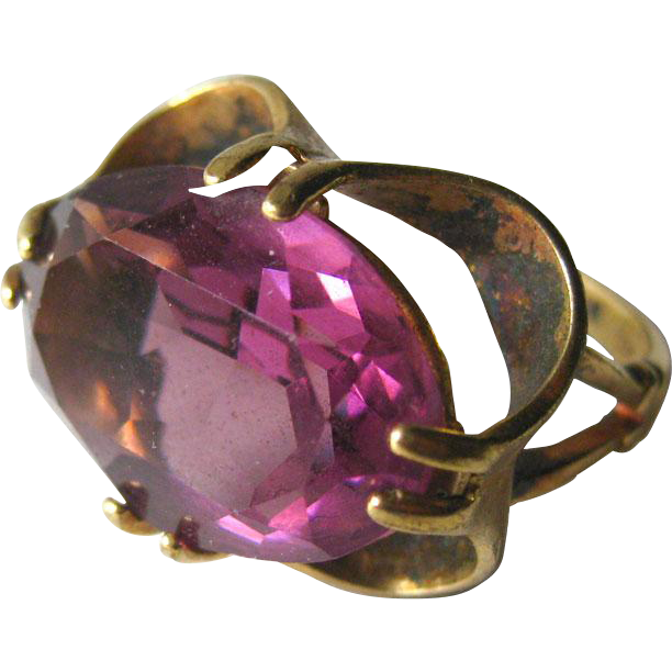 Amethyst Oval Faceted Ring Signed Vargas 10 K GF Size 7 And A Half / Costume Jewelry Ring / Cocktail Ring / Faceted Stone Ring