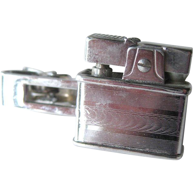 Continental Lighter Tie Clip / CMC Lighter Tie Bar / Miniature Lighter / Gift for Him / 1950s Mens Fashion / Mens Jewelry
