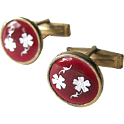 Red Enameled Floral Cufflinks / Shirt Cuff Links / Mens Fashion / Mens Gift / Fathers Day Gift