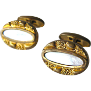 Mother Of Pearl Victorian Bean Back Cufflinks / Shirt Cuff Links / Victorian Fashion / Mens Gift / Fathers Day Gift
