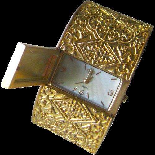 Byzantine Style Watch Clamper Bracelet - Tori Spelling Working Watch Bracelet - Womens Watch - Wide Clamper Watch
