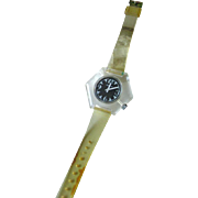 Lucerne Clear Lucite Hexagon Watch In Working Condition - Mid Century Mechanical Watch - Skeleton Watch - Wind Up Watch