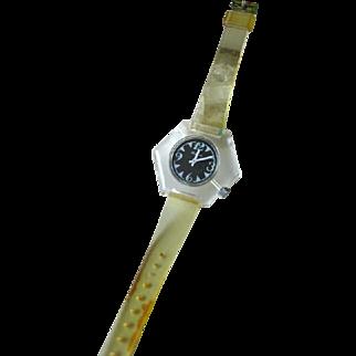 Lucerne Clear Lucite Hexagon Watch In Working Condition - Mid Century Mechanical Watch - Skeleton Watch - Wind Up Watch
