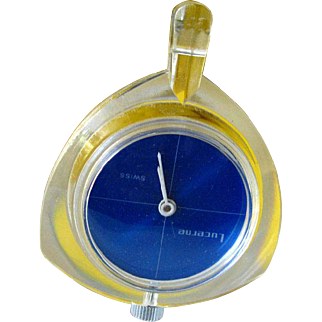 Lucerne MOD Lucite Watch Pendant - Mid Century Mechanical Watch In Working Condition - Skeleton Watch - Wind Up Watch Necklace