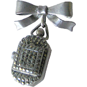 Sterling Marcasite Glass Faced Watch Pin - 15 Jewel Mechanical Watch Brooch - Swiss Made Wind Up Watch