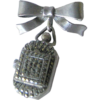 Sterling Marcasite Glass Faced Watch Pin - 15 Jewel Mechanical Watch Brooch - Swiss Made Wind Up Watch