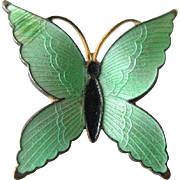 Green Enamel Butterfly Pin - Guilloche Butterfly Pin - Womens Gift - Costume Jewelry